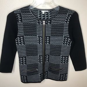Gently Loved Small Petite Halogen Zip Up Sweater